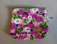 "Trousse ""Flower"" Violet  By SyL'Art"