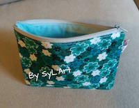 "Trousse ""Flower"" Vert Carrée By SyL'Art"